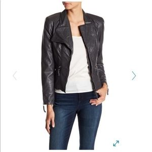 Blank NYC Denim Faux Leather Fitted Moto Jacket